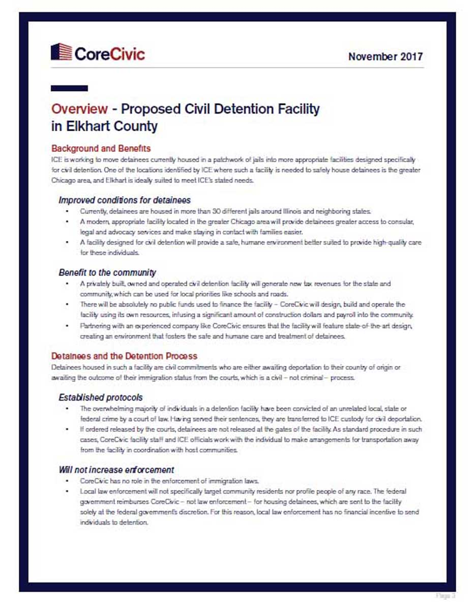 Overview - Proposed Civil Detention Facility in Elkhart County